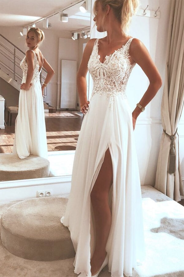 Ivory Boho Chiffon Top Lace Beach Wedding Dresses With Side Split PW261 | boho wedding dresses | cheap lace wedding dresses | chiffon wedding dresses | wedding dresses online | wedding dresses near me | lace wedding dresses | beach wedding dresses | Promnova