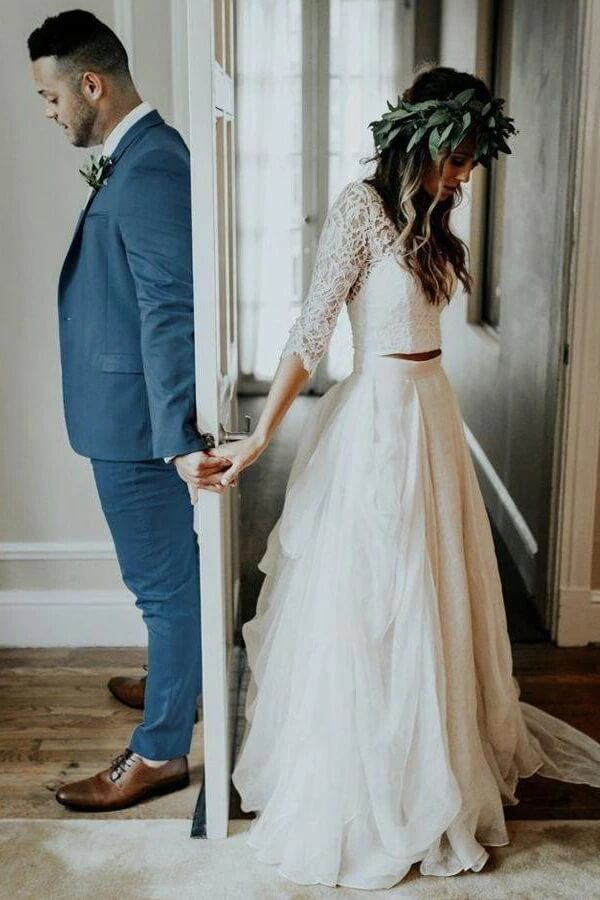 Beautiful Two Piece Chiffon Lace 3/4 Sleeve Cheap Wedding Dresses PW263 | two piece wedding dresses | bridals | wedding dresses | promnova.com