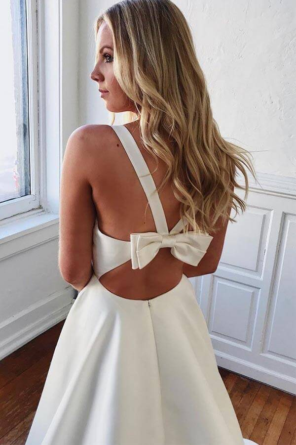 Simple Ivory Satin A Line V Neck Wedding Dresses With Bow-Knot PW264 | wedding dresses | satin wedding dresses | ivory wedding dresses | simple wedding dresses | cheap wedding dresses | bridal gowns | promnova.com
