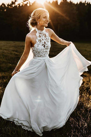 www.promnova.com | White Chiffon A-line Lace Halter Sleeveless Long Beach Wedding Dresses PW246