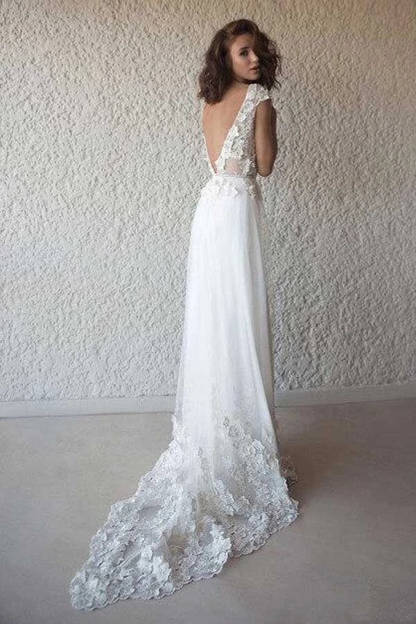 Find Ivory See Through Cap Sleeves V-neck Wedding Dresses Beach Bridal Dress PW248 at www.promnova.com