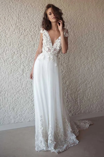 Ivory See Through Cap Sleeves V-neck Wedding Dresses Beach Bridal Dress PW248 - Promnova.com