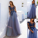 Open Back See Through Blue Lace Long Sleeve Long Prom Dress PL267 | blue prom dresses | lace prom dresses | long prom dresses | evening dresses | evening gowns | www.promnova.com