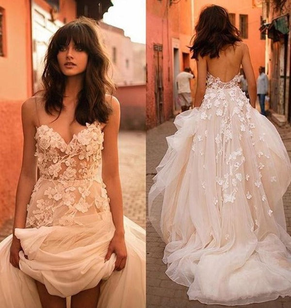 Beautiful Tulle A-line Floral Brush Train Wedding Dresses, Bridal Gown PW250 | wedding lace dresses | wedding white dress | tulle fabric | bridal gown 2020 | sleeveless wedding dress | sleeveless bridal dress | buy wedding dresses online | bridal store near me | wedding store near me | brush train dress | Promnova