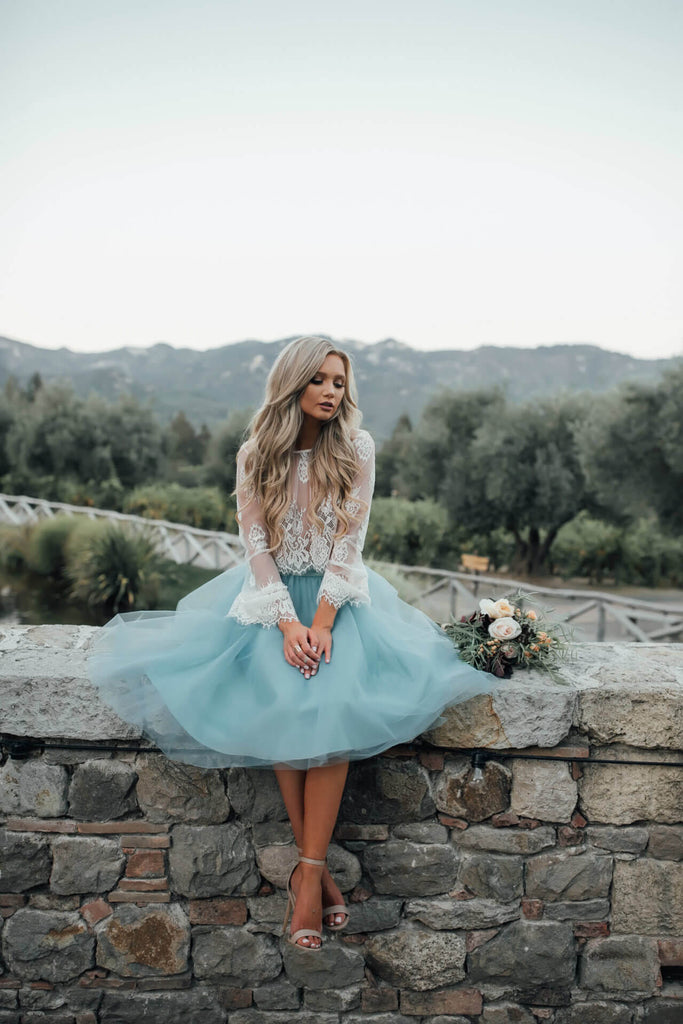 Sky Blue lace Cheap Short Homecoming Dresses for teens, SH244 | Sky Blue homecoming dresses | long sleeves homecoming dresses | tulle homecoming dresses | homecoming dresses cheap | homecoming dresses online | graduation dresses | school dance | Promnova.com