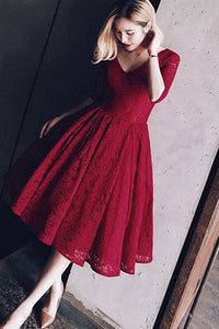 Tulle V neck Burgundy Tea-length Short Prom Dress , Homecoming Dress SH248
