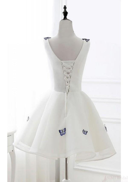 promnova.com|Satin Butterfly Ivory Organza Short V neck Homecoming Dress