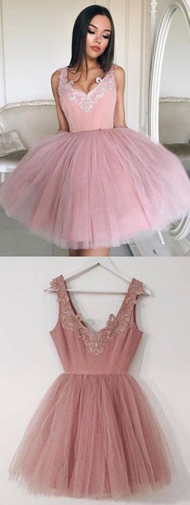 promnova.com|Pink Homecoming Dress Tulle Straps Appliques Short Party Dress