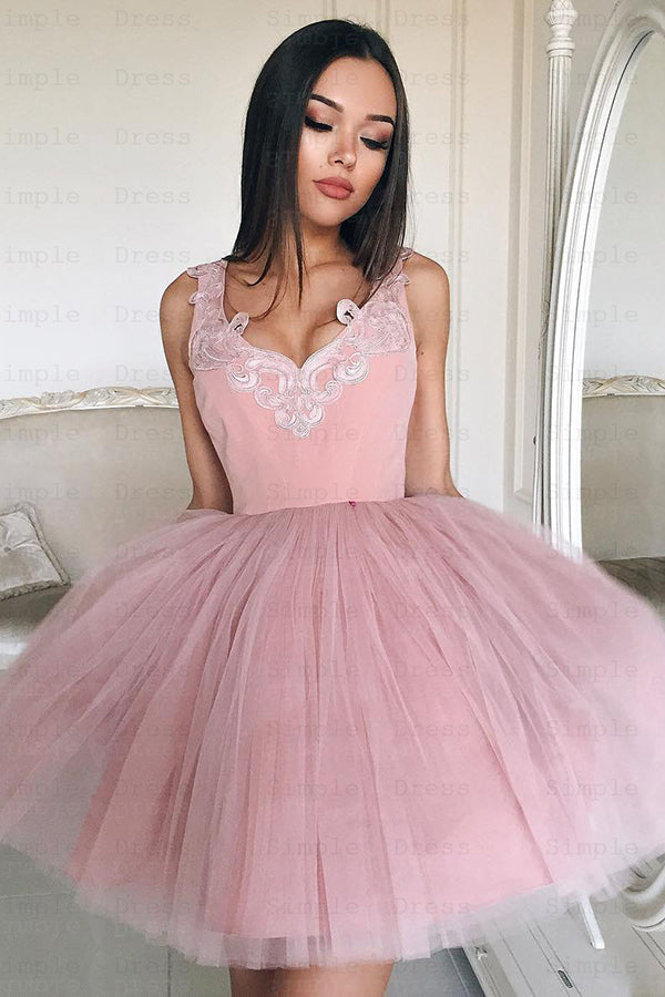 Pink Homecoming Dress Tulle Straps Appliques Short Party Dress SH251