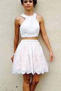 Two Piece Sexy Lace Beading Short Homecoming Dress White Party Dress, SH255