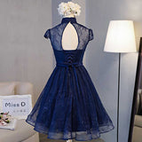 High Neck Lace Dark Navy Short Homecoming Dress Prom Dress , SH257 from promnova.com