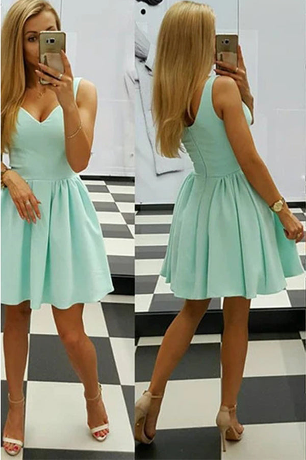 Sexy Homecoming Dress Sage V-neck Satin Short Prom Dress, SH258