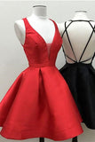 Little Black Red Homecoming Dress Short Satin Prom Dress ,SH259