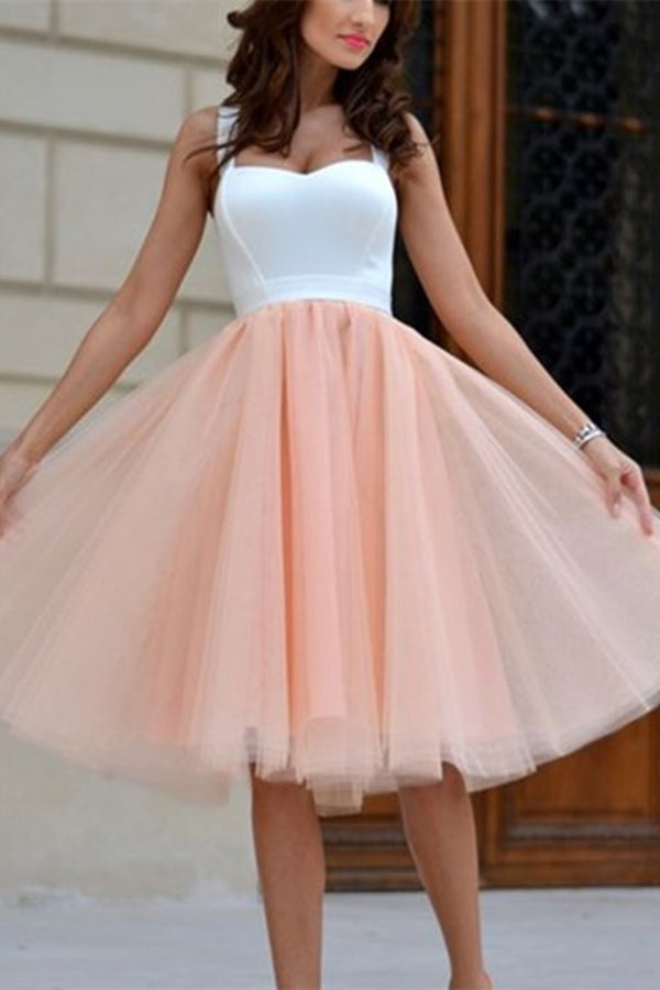 Find Cheap Homecoming Dress Sexy Straps Tulle Short Pink Party Dress, SH261 at promnova.com