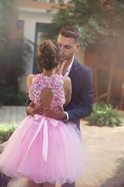 promnova.com|Pink Tulle Homecoming Dress Hand-Made Flower Prom Dress