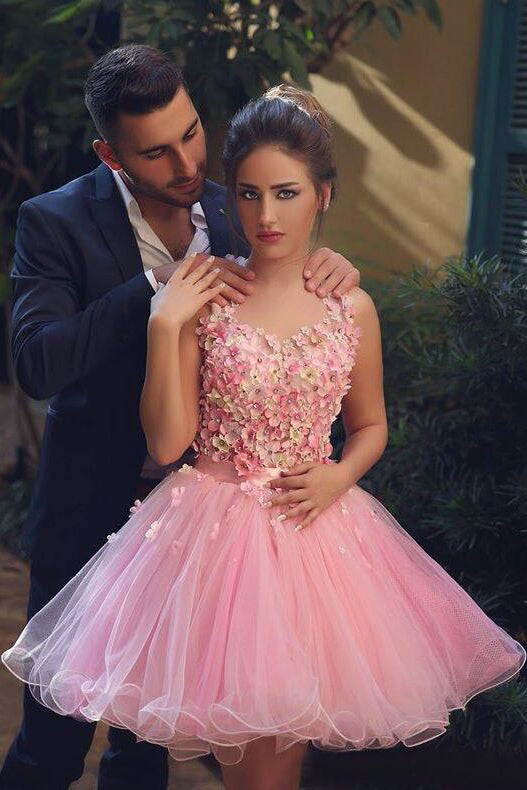 Pink Tulle Homecoming Dress Hand-Made Flower Prom Dress, SH263