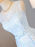 Find Light Sky Blue Asymmetrical Short Tulle Homecoming Dress Party Dress, SH264 at promnova.com