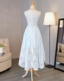 promnova.com supply Light Sky Blue Asymmetrical Short Tulle Homecoming Dress Party Dress, SH264