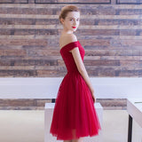 promnova.com|Off-the-shoulder Homecoming Dress Burgundy Short Prom Dress