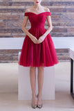 Off-the-shoulder Homecoming Dress Burgundy Short Prom Dress, SH265