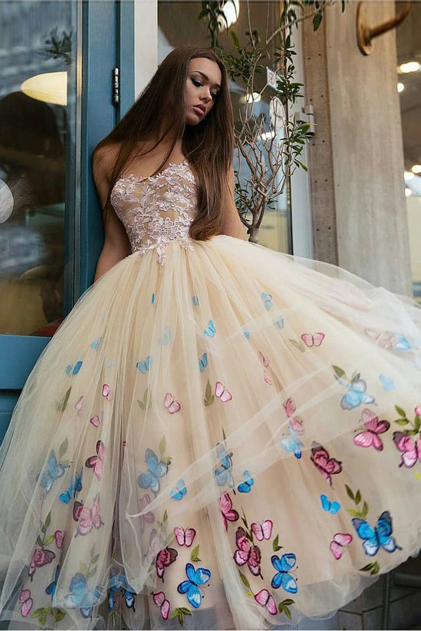 promnova.com supply Tulle Sweetheart Appliques Butterfly Short Homecoming Dress Party Dress, SH268