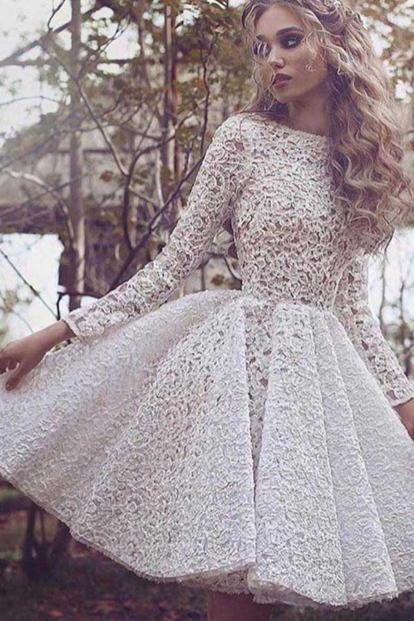 Long Sleeve Lace Homecoming Dress Ivory Short Prom Dress Party Dress, SH269