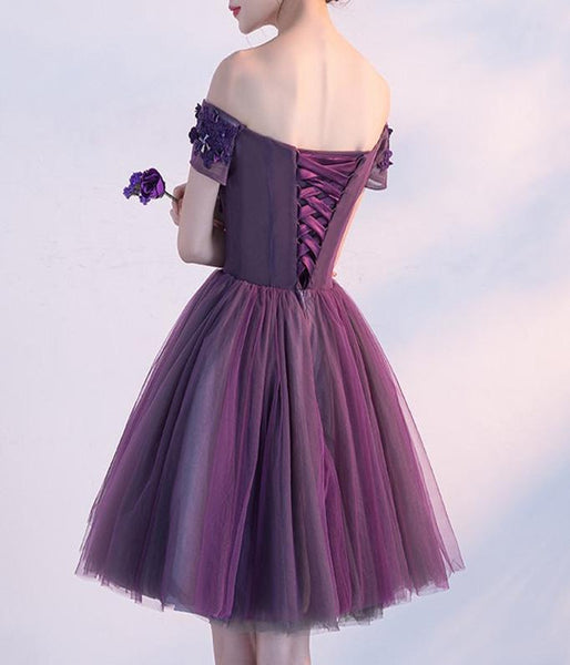 promnova.com|Tulle Purple  Off Shoulder Short Homecoming Dress Party Dress , SH270