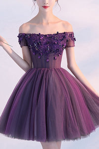 Tulle Purple Off Shoulder Short Homecoming Dress Party Dress, SH270
