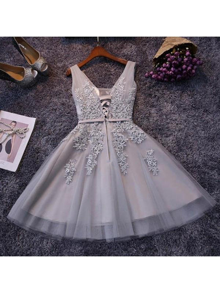promnova|Tulle V-neck Homecoming Dress A-line Short Prom Dress Party Dress