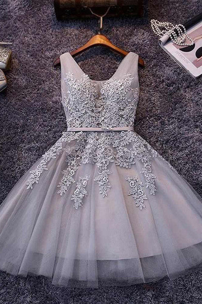 Tulle V-neck Homecoming Dress A-line Short Prom Dress Party Dress, SH272