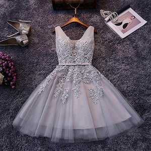 promnova.com supply Tulle V-neck Homecoming Dress A-line Short Prom Dress Party Dress, SH272