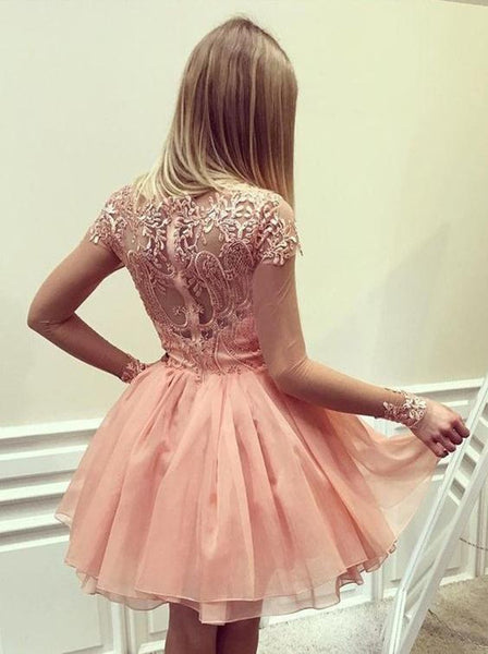 promnova.com|Pink Appliques Homecoming Dress Chiffon Short Prom Dress Party Dress