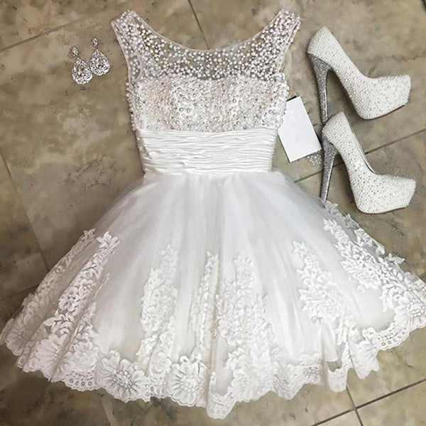 promnova.com|White Tulle A line Beading Short Homecoming Dress Party Dress