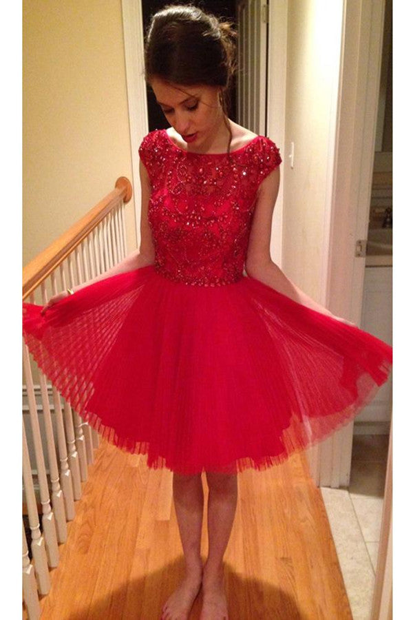 Red Tulle Homecoming Dress Scoop A-line Rhinestone Short Prom Dress,PH276