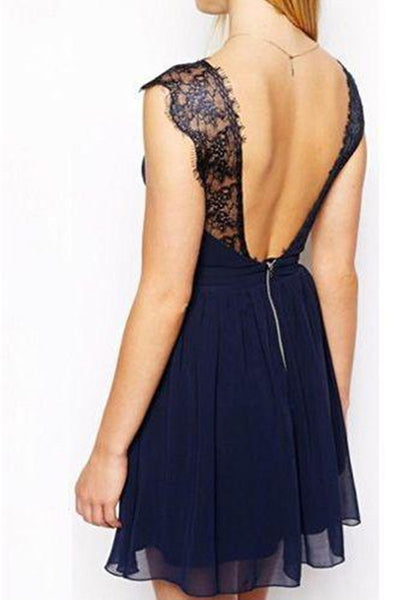 promnova.com|A-line V-neck Lace Dark Navy Homecoming Dress Cheap Short Prom Dress