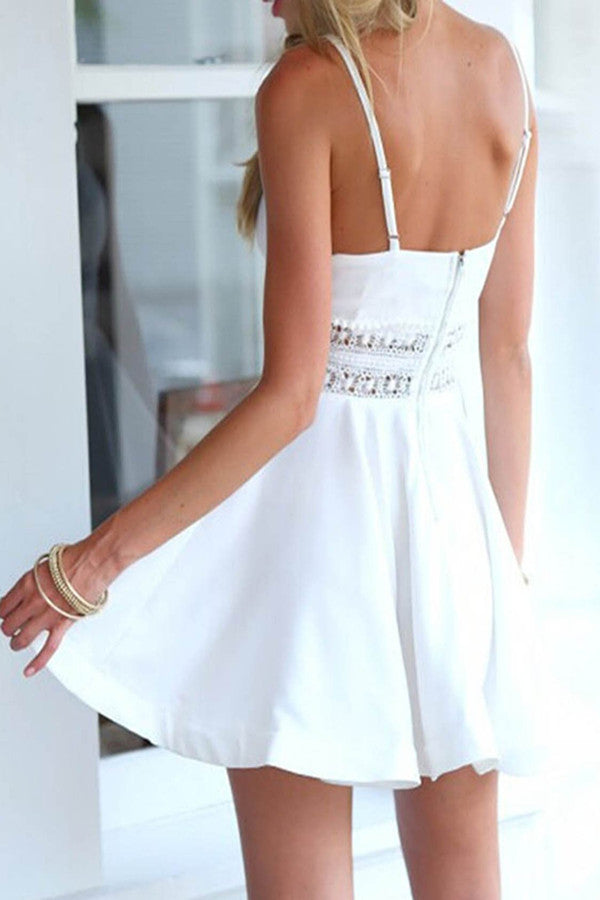 promnova.com|Sexy V-neck Backless Lace White Spaghetti Straps Short Homecoming Dress