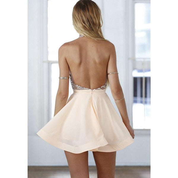 promnova.com|Chic Sexy Open back Homecoming Dress Sequins Satin Short Party Dress