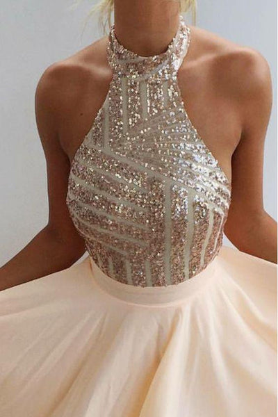 Chic Sexy Open back Homecoming Dress Sequins Satin Short Party Dress, PH286