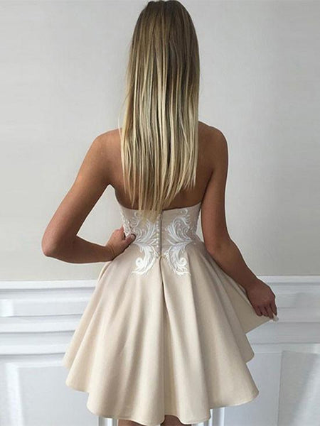 promnova.com|Satin Sweetheart Homecoming Dress Backless Appliques Short Party Dress
