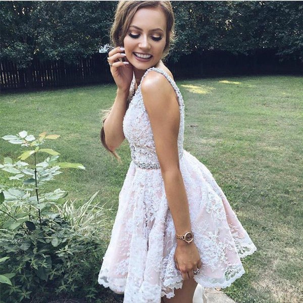 promnova.com|Lace Beading Homecoming Dress Straps Appliques Short Party Dress