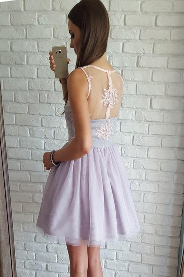 promnova.com|Cute and Sexy Sleeveless Appliques Lilac Short Chiffon Homecoming Dress