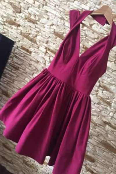 promnova.com| Sexy Halter Burgundy Satin Short Homecoming Dress Party Dress