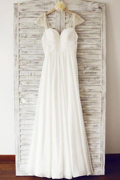 Cheap Chiffon Cap Sleeve Beach Wedding Dresses With Beading, PW120