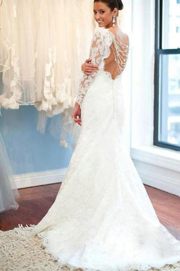 027bdb4a7e5 White Lace Long Sleeve Round Neck Backless Mermaid Wedding Dresses ...