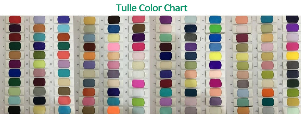 Tulle color swatches for prom dresses, wedding dresses, homecoming dresses, bridesmaid dresses | Promnova