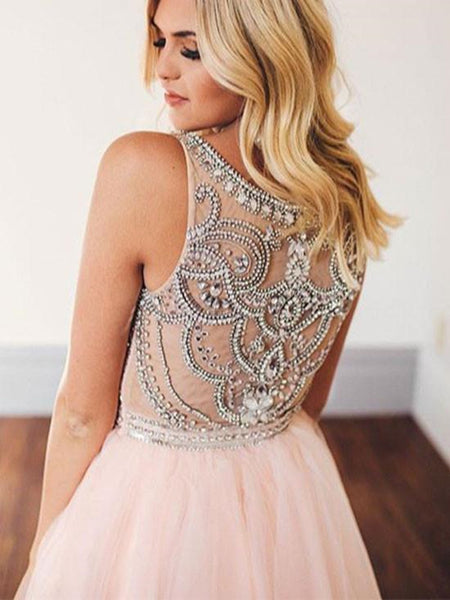 www.promnova.com|Pink Tulle Rhinestones Short Prom Dress Homecoming Dress For Teens