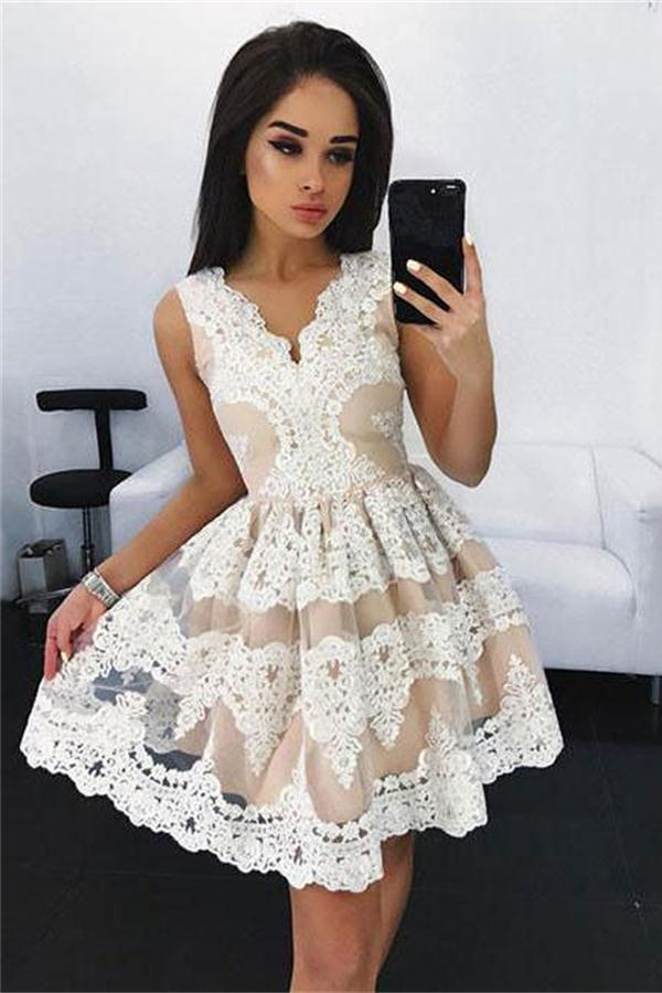 Cute White Lace Appliques V Neck Short Prom Dress Homecoming Dress,PH328