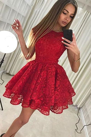 Cute Lace A-line High Neck Short Prom Dress Cheap Homecoming Dress on Line PH336