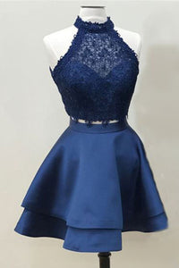 Two Piece Dark Blue A-line Satin Short Prom Dresses Homecoming Dress