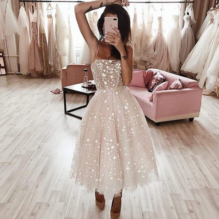 A Line Pearl Pink Tea Length Spaghetti Strap Homecoming Dress With Beading |promnova.com